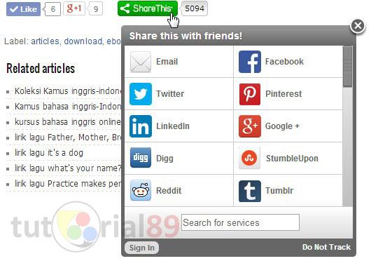 Cara mudah membuat tombol share di bawah posting