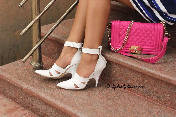White heels, white shoes, pink bag