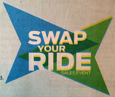 Swap Your Ride logo with blue and green arrows facing and overlapping to make an interesting shape