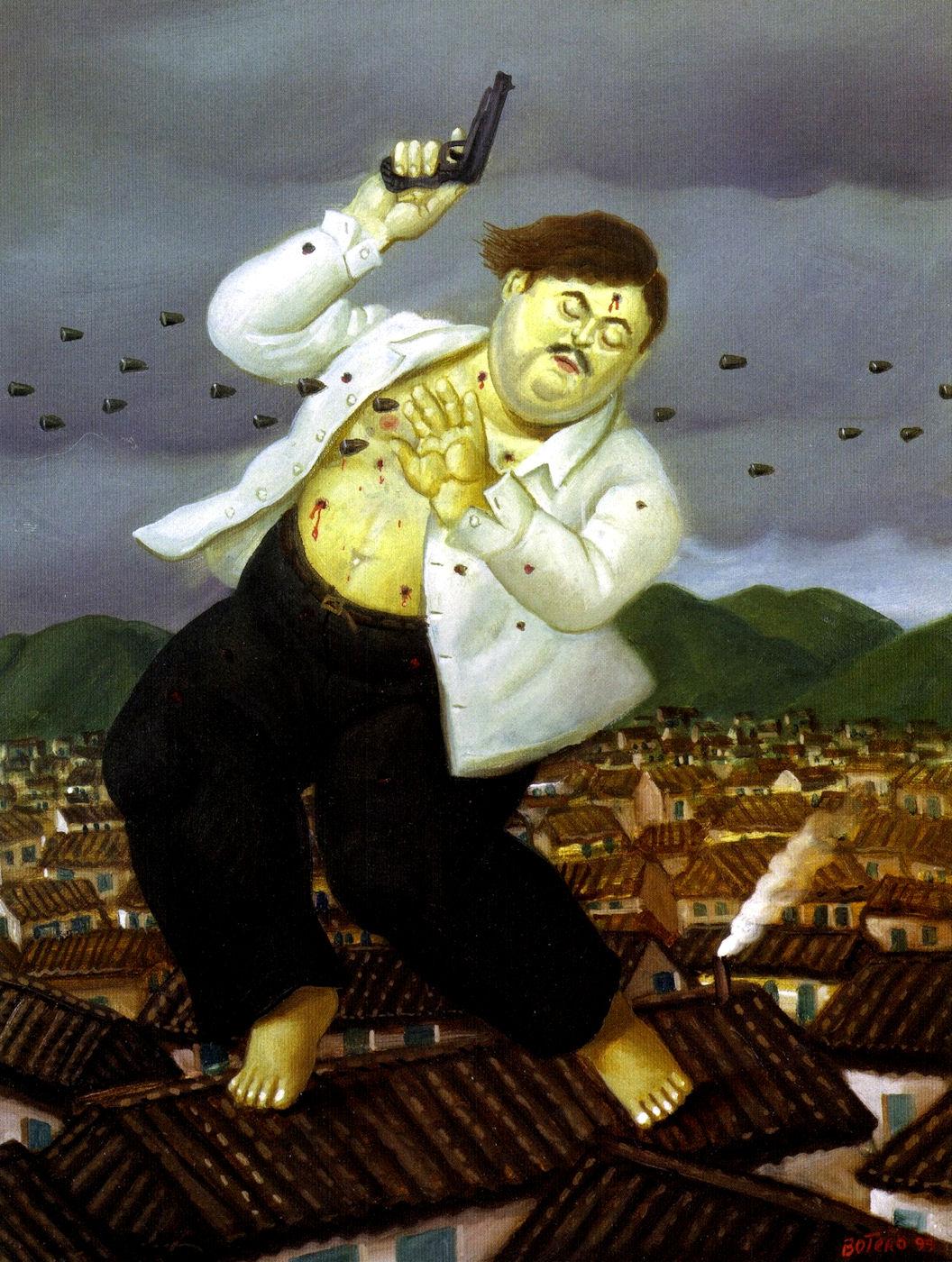 La muerte de Pablo Escobar, del artista colombiano Fenando Botero