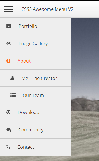 jQuery CSS3 Awesome Menu