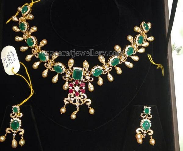 CZ Emerald Necklace 72 Grams Jewellery Designs