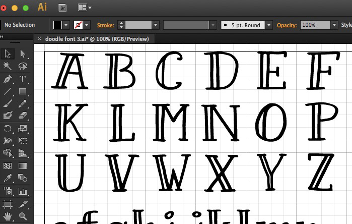 position each letter in your Illustrator file precisely - How to create your own font using Illustrator and Glyphs App - HelloBrio.com