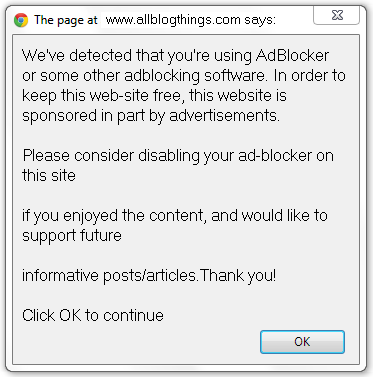 demo of adblocker error