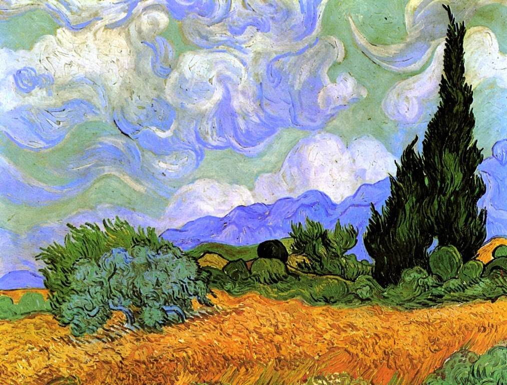Vincent van Gogh A Wheatfield with Cypresses