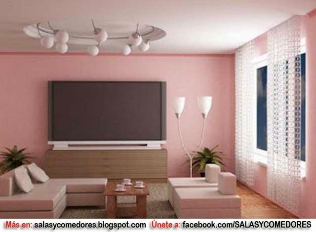 Como decorar tu sala en tonos rosa salas y comedores for Colores de paredes interiores de moda