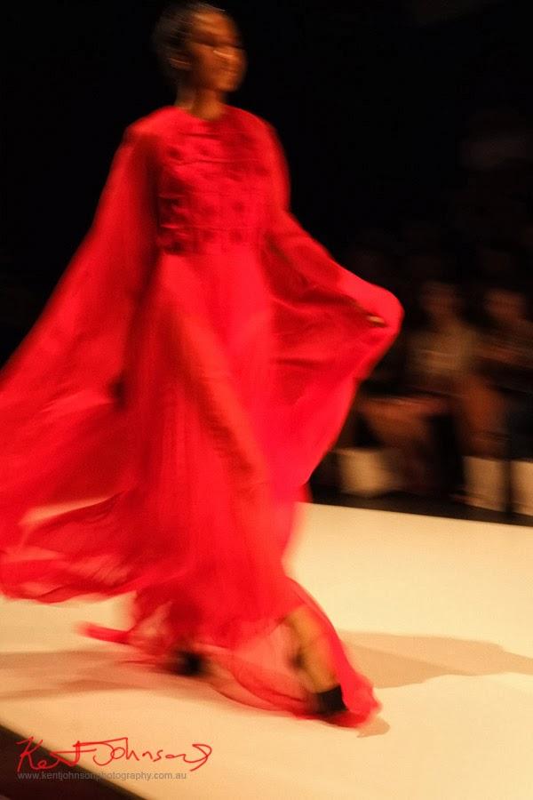 Fergie Theodora; red dress 1 -  New Byzantium : Raffles Graduate Fashion Parade 2013 - Photography by Kent Johnson.