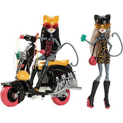 JUGUETES - MONSTER HIGH : Wheelin' Werecats  Pack | Meowlody and Purrsephone | Muñecas - Dolls  Producto Oficial 2015 | Mattel | A partir de 6 años