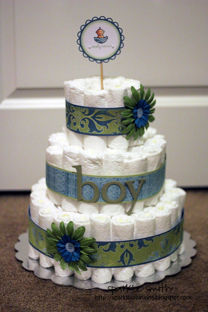 Sparkle Creations Newly Hatched Baby Boy Diaper Cake