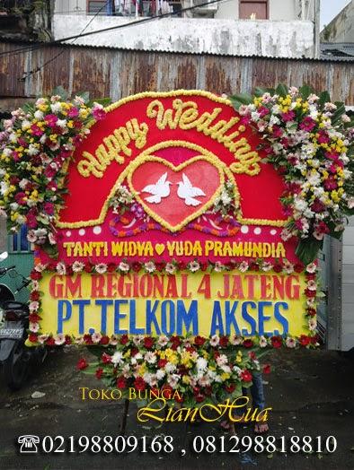 karangan bunga papan, toko bunga papan di jakarta, toko bunga, bunga ucapan pernikahan, papan bunga happy wedding