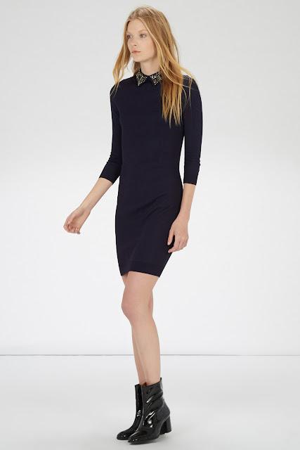 navy jewel collar dress, warehouse jewel collar dress, warehouse collar blue dress,