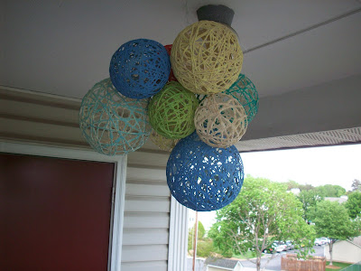 diy colored yarn lantern chandelier
