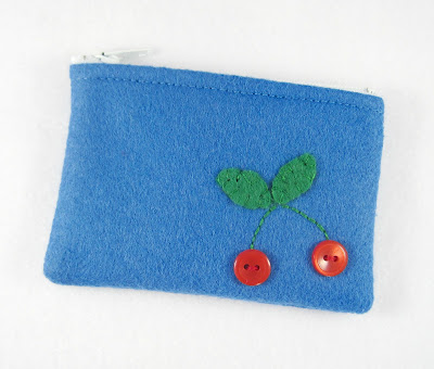 Button Cherries Tiny Treasures Mini Felt Zipper Pouch
