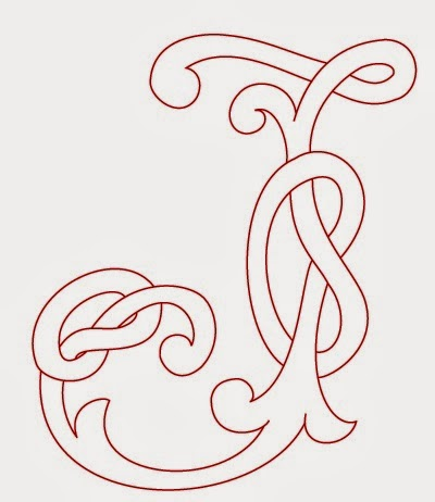 J Celtic calligraphy monogram tattoo stencil