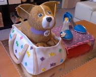 Torta psík v kabelke a topánky