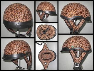 Leopard Fabric Motorcycle Helmet