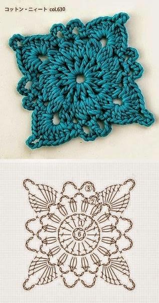6 patrones de grannys al crochet crochet y dos agujas - Cuadraditos de crochet ...