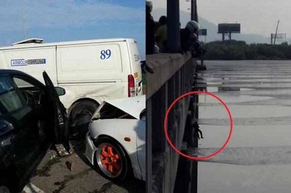 Penunggang Motosikal Terjun Laut Elak Kemalangan Atas Jambatan Pulau Pinang