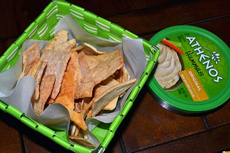 wheat pita chips with hummus