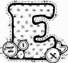 desenho de alfabeto de tecido e botoes para pintar letra E