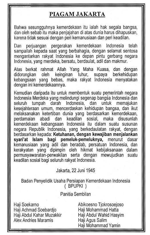 Sejarah Dan Isi Piagam Jakarta (Jakarta Charter)