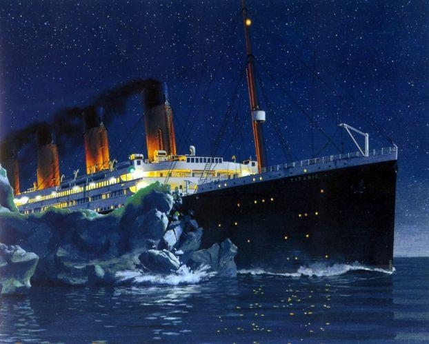 Image result for the titanic hits an iceberg