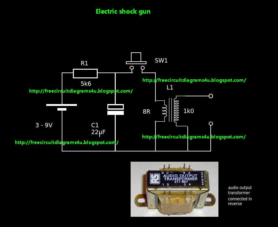 free circuit diagrams 4u: simple electric shock gun, Circuit diagram