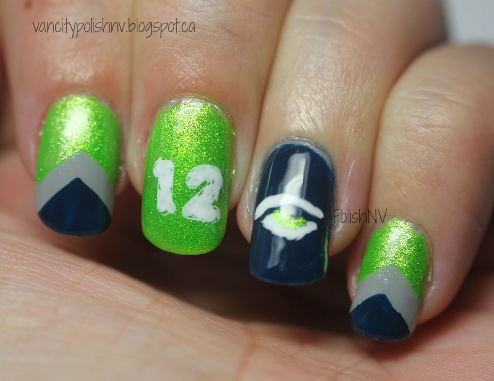 PolishNV: Go Seahawks Super Bowl Nails