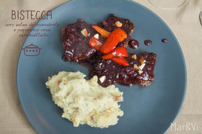 Bistecca con salsa de mandorle e peperoni caramellati