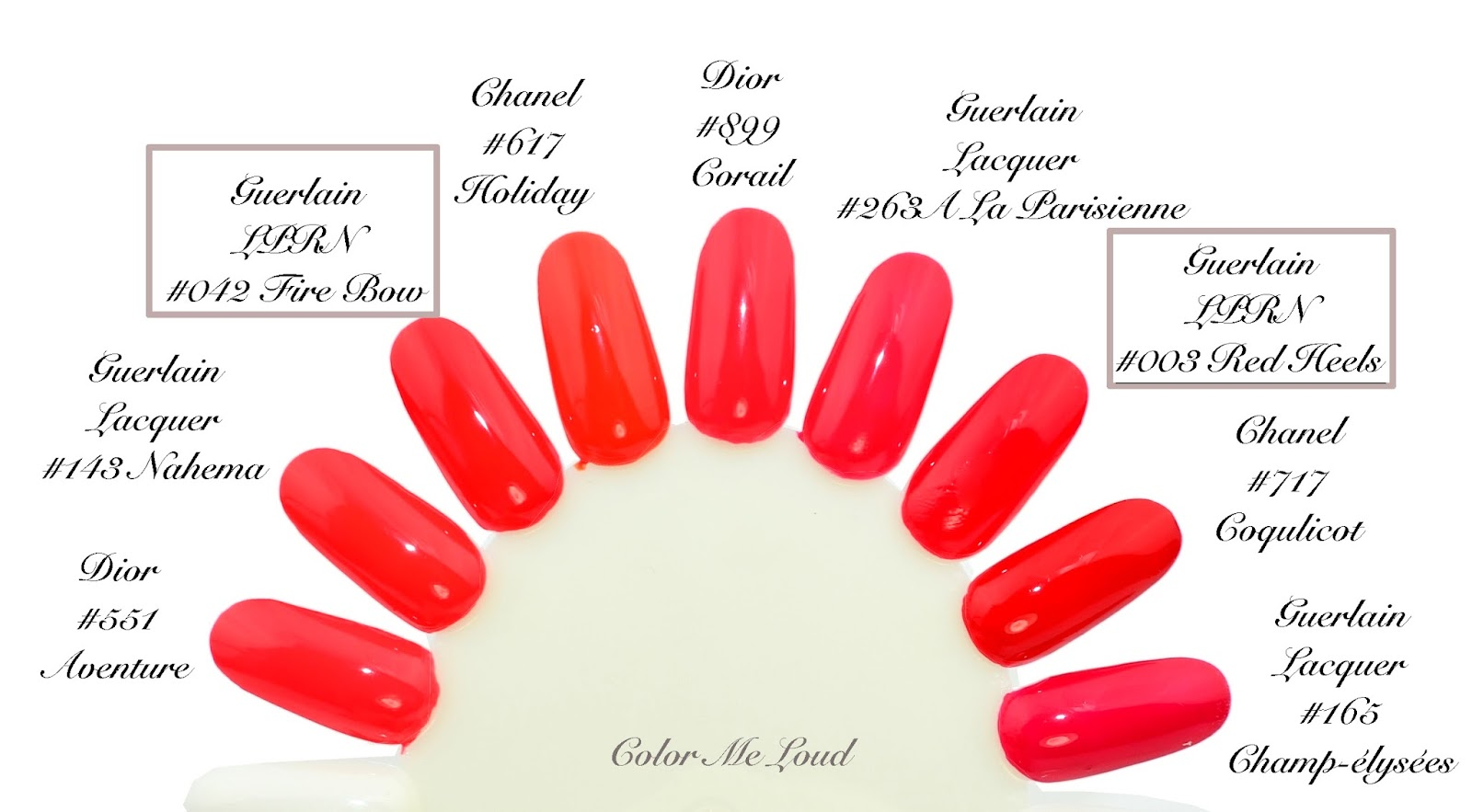 Swatch Comparison Guerlain La Pee Robe Noire 042 Fire Bow 003 Red Heels