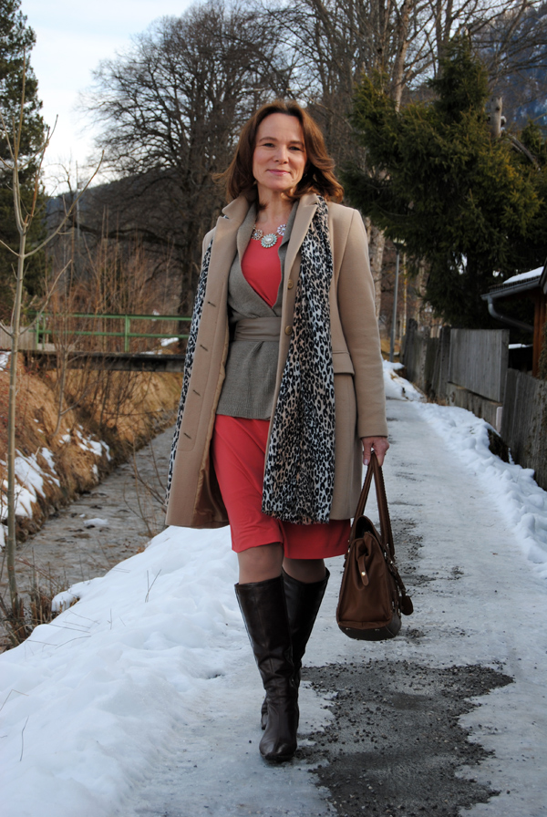 Layering And Coral Red In Winter Lady Of Style