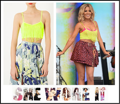 Belted, Big Weekend, Bralet, Crop Top, Cropped, Flared Skirt, Fringe, High Waisted, Jersey, Kenzo, Leopard print, Mollie King, Neon, Oversized Pockets, Pink, Radio 1, Red, Tassel, The Saturday's, Yellow,