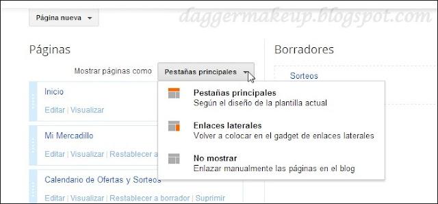 Formas de presentación de las Páginas en Blogger