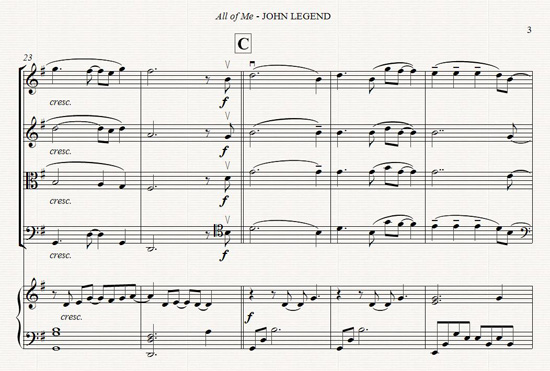 John Legend - All of Me - arr. for string quartet and piano