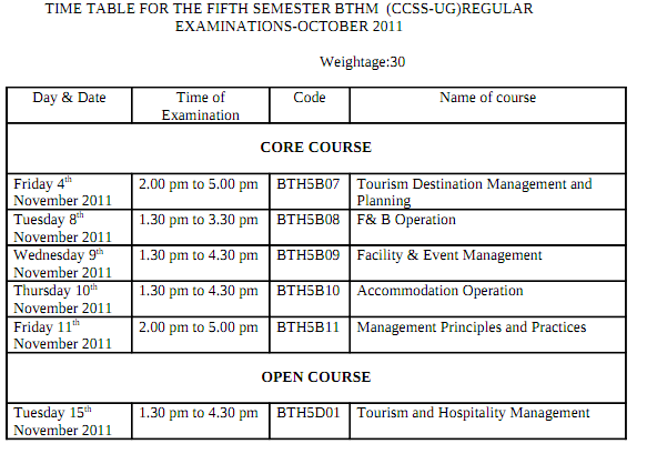 students idea,calicut univ,time table,sem