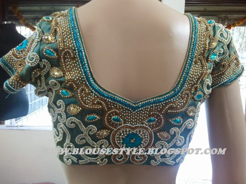 Models of blouse designs zardhosi and thread kundan