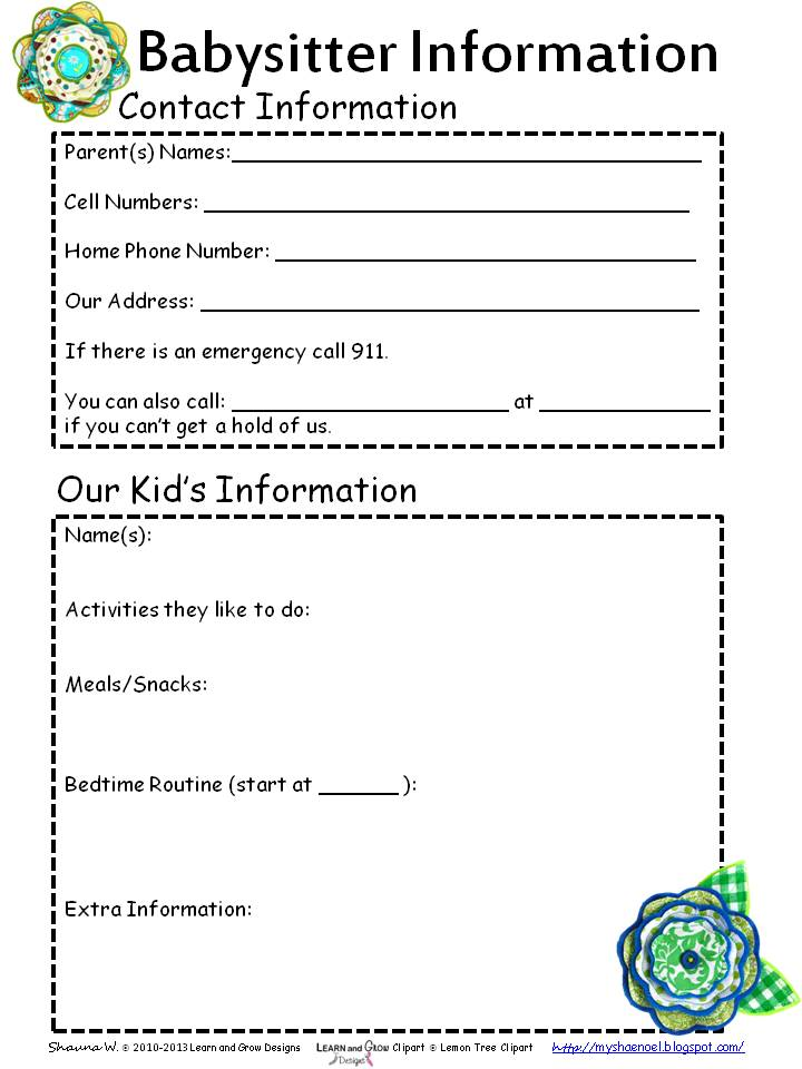 photograph regarding Babysitter Info Sheet Printable referred to as Study and Expand Strategies Net: Free of charge Babysitter Content