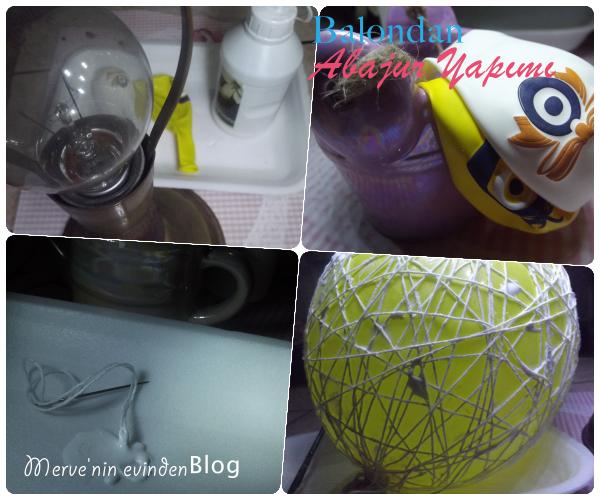 Balon, ip ve tutkaldan abajur yapımı