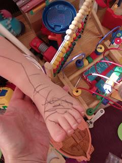 Toddler ballpoint body art