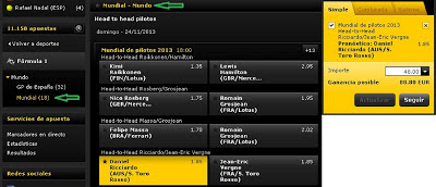 Apuestas Deportivas Fórmula 1– Mundial 2013 ricciardo vergne bwin