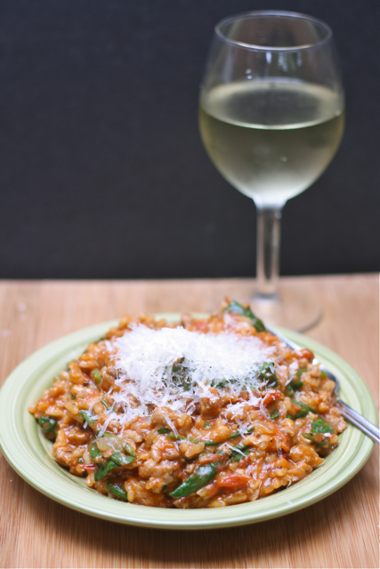 Tomato, Sausage, and Spinach Risotto