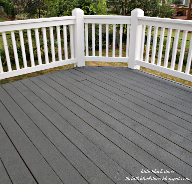 Little black door i wear my sunglasses at night deck reveal for Garden decking colour ideas