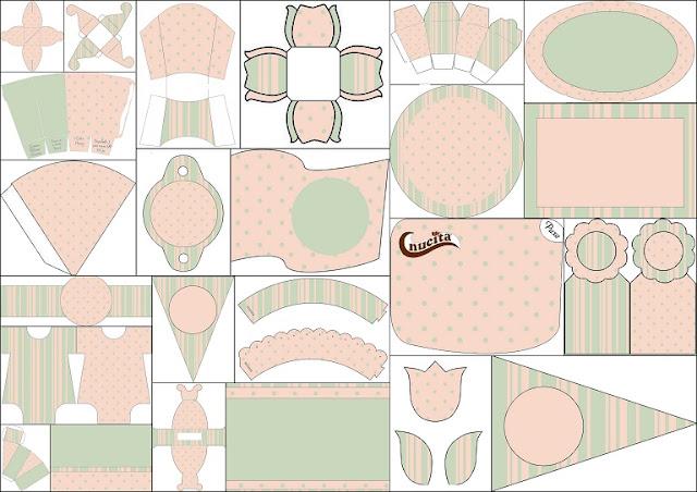 Stripes, Polka Dots, Mint and Pink Free Printable Kit.
