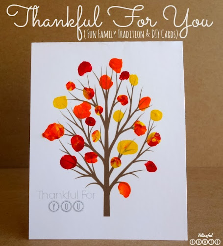 Thankful For You {Fun Family Tradition & DIY Cards} from Blissful Roots