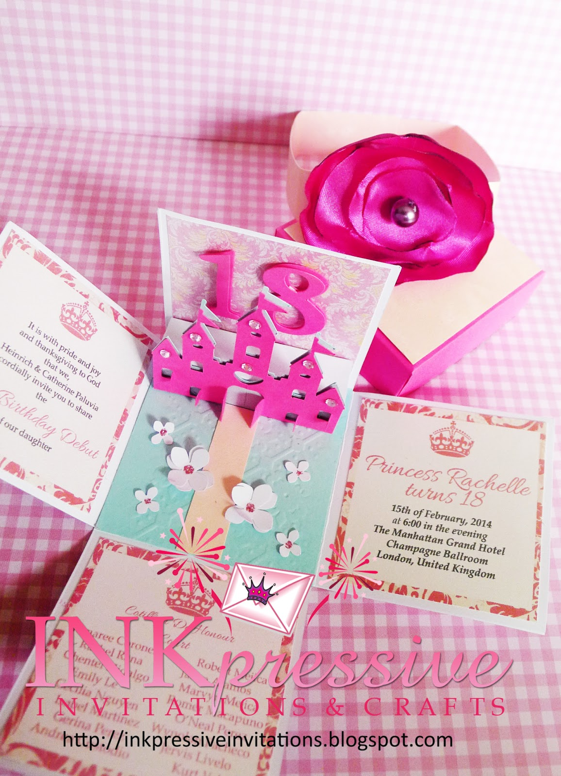 Princess Castle Exploding Box Invites