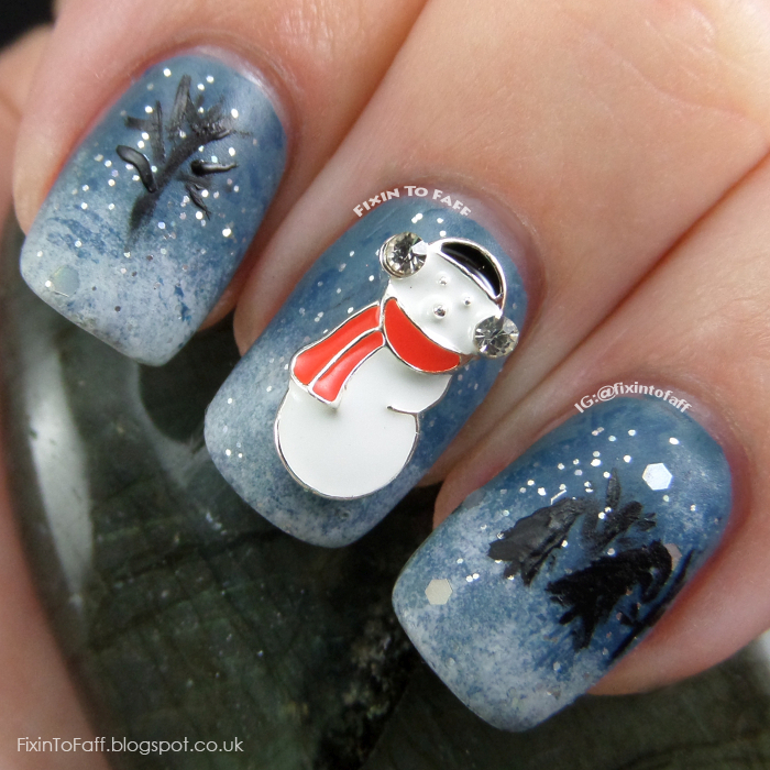 Snowman winter nail art.