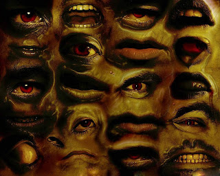 Many Eyes And Mouths Dark Gothic Wallpaper