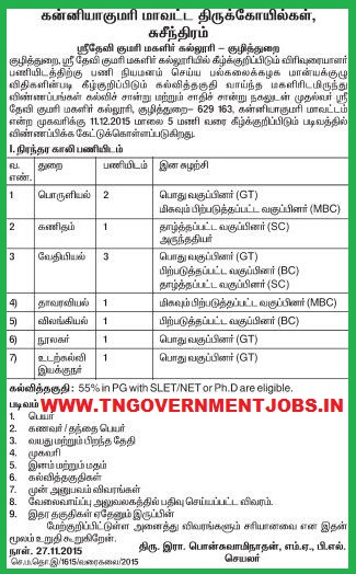 Applications are invited for Assistant Professor, Physical Education Director and College Librarian Posts in Sri Devi Kumari Women's College Kuzhithurai