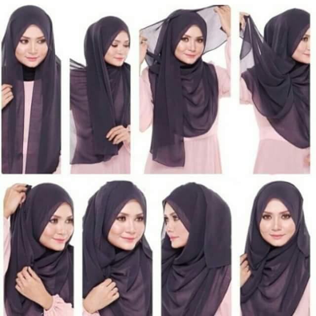 10 Cara Mudah Pakai Shawl, Tutorial Shawl, plain shawl tutup dada