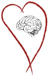 silueta tvaru srdce uvnitř něhož je mozek